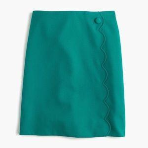 NWT J. Crew Tall Scalloped Green Skirt
